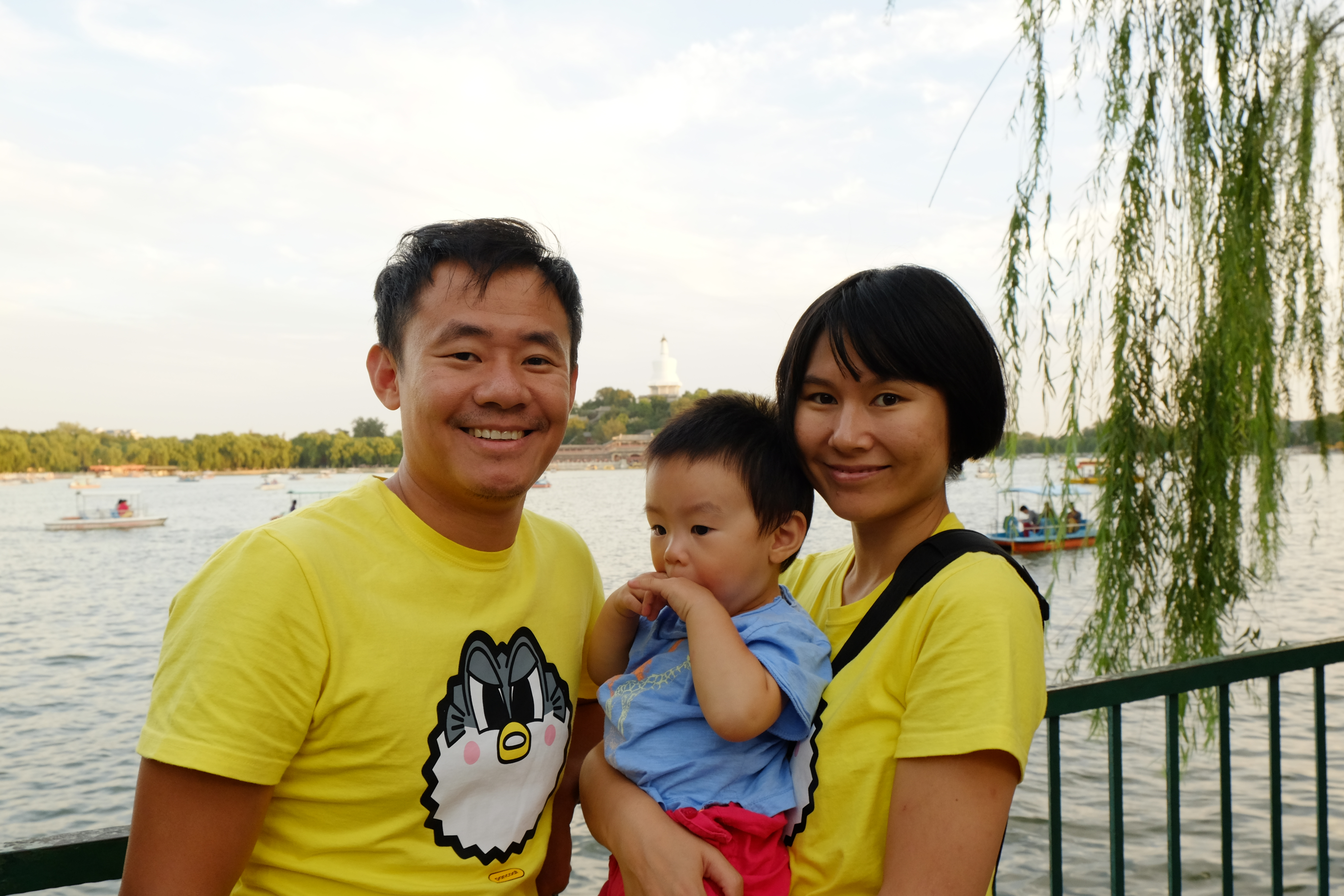 Xiyue Wang and Hua Qu with their son. Wang has been in prison in Iran for more than a year.